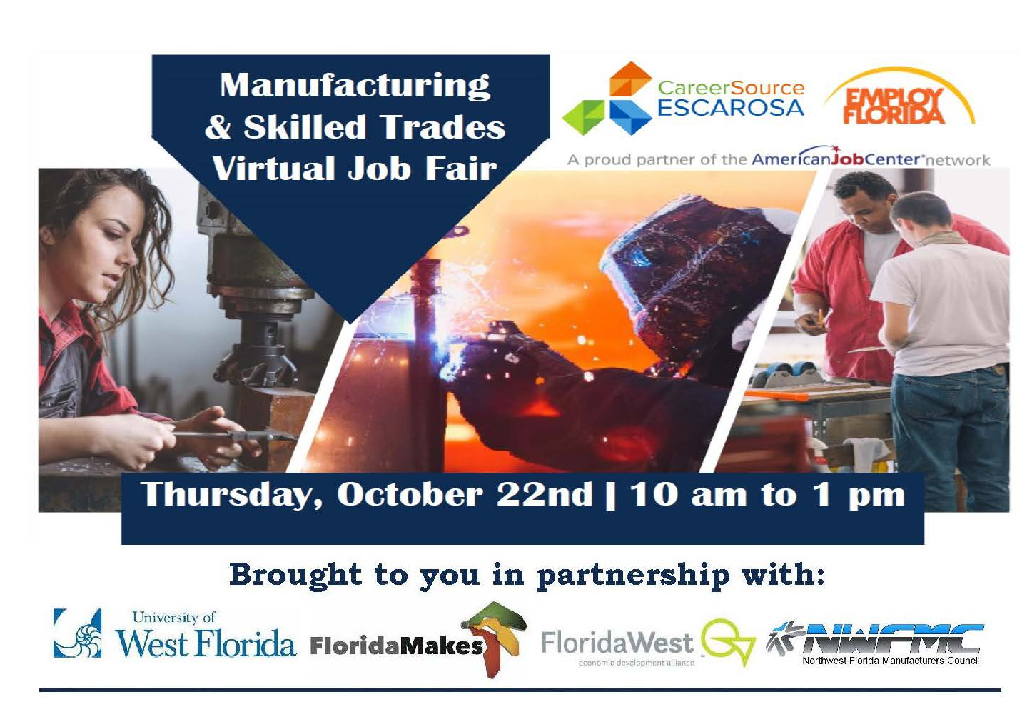 Manufacturing and Skilled Trade Job Fair October 22 from 10 to 1
